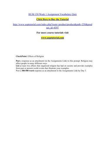 HUM 130 Week 1 Assignment Vocabulary Quiz