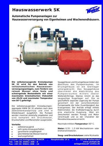 Hauswasserwerk SK Automatische Pumpenanlagen zur ...