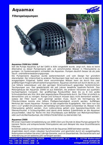 Aquamax Filterspeisepumpen