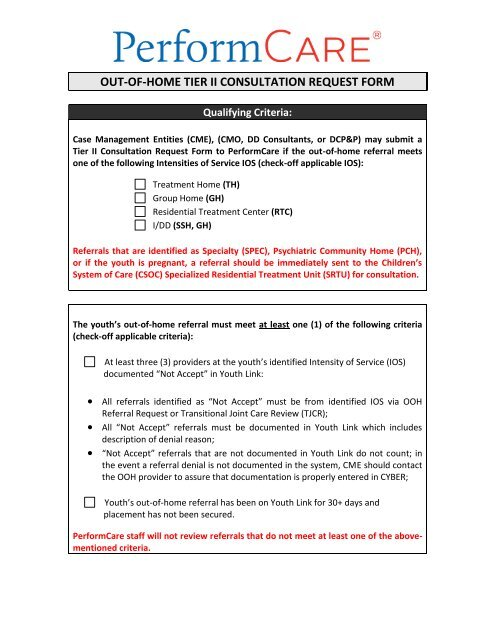 Tier II Consultation Request Form - NJ Children's System of Care
