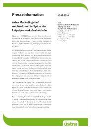 Pressemitteilung der üstra Hannover - Lvb