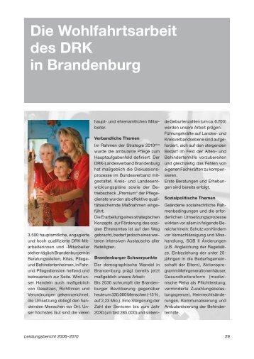 Die Wohlfahrtsarbeit des DRK in Brandenburg