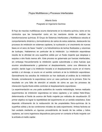 Alberto Soria (IPH) Flujos multifásicos y procesos interfaciales - CBI