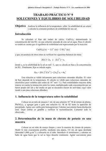 trabajo práctico nº 9 soluciones y equilibrio de solubilidad