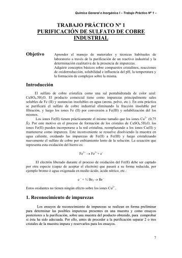 Purificacion de Sulfato de Cobre Industrial