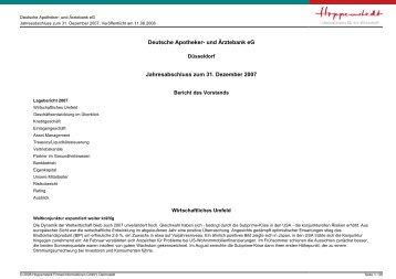 Jahresabschluss zum 31. Dezember 2007 - Firmendatenbank von ...