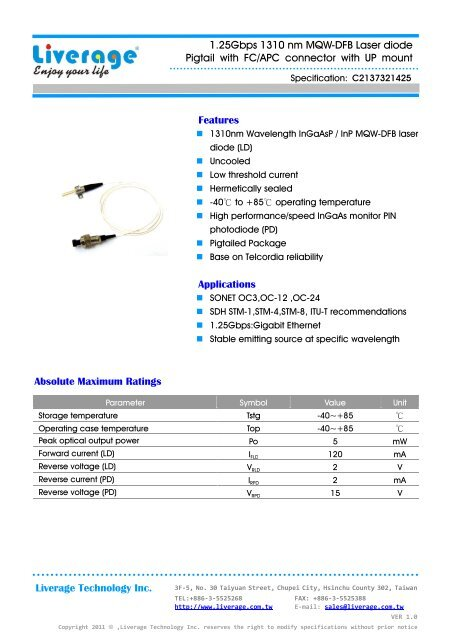 1 25Gbps 1310 nm MQW-DFB Laser diode Pigtail with FC/APC