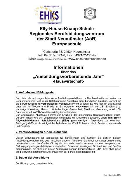 Ausbildungsvorbereitende Jahr - Elly-Heuss-Knapp-Schule - Stadt ...