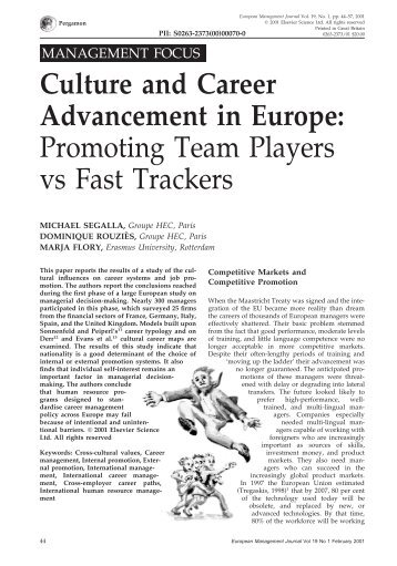 Culture and Career Advancement in Europe: Promoting Team - Hec