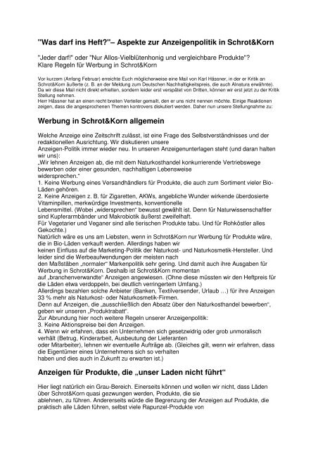 """""""Was darf ins Heft?""""– Aspekte zur Anzeigenpolitik in Schrot&Korn ..."""
