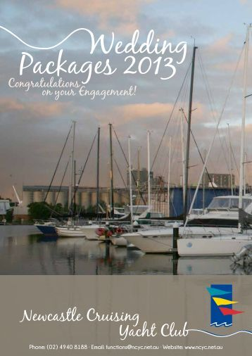 NCYC's 2013 Wedding Packages - Newcastle Cruising Yacht Club