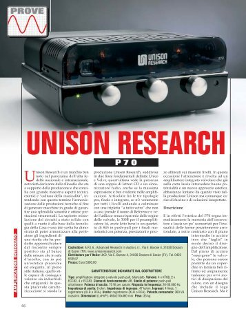 Audio Review - Unison Research