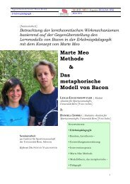 Marte Meo Methode & Das metaphorische Modell von Bacon