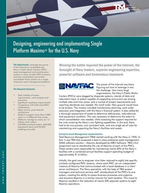 NAVFAC Single Platform Maximo - Total Resource Management