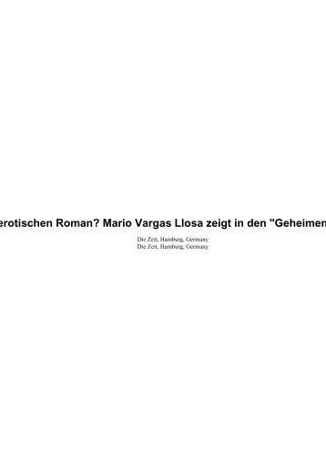 Wie schreibt man einen erotischen Roman? Mario Vargas Llosa ...