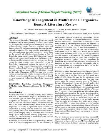 A Literature Review - International Journal of Advanced Computer ...