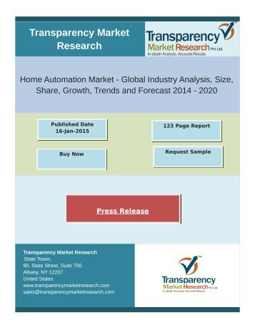 Home Automation Market to Grow to US$21.67 Billion by 2020, Aided by Growing Presence of Smartphones