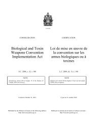 Biological and Toxin Weapons Convention Implementation Act Loi ...
