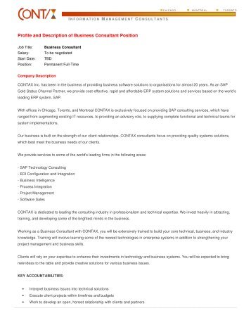 Profile and Description of Business Consultant Position - CONTAX Inc.