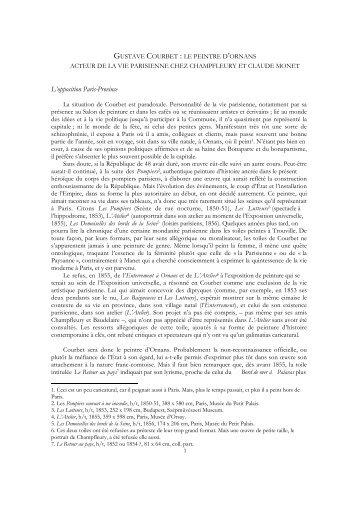 Gustave Courbet : le peintre d'Ornans acteur de la vie parisienne ...