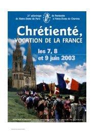 Chrétienté vocation de la France - Notre-Dame de Chrétienté