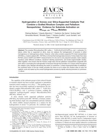 Hydrogenation of Arenes over Silica-Supported Catalysts That ...