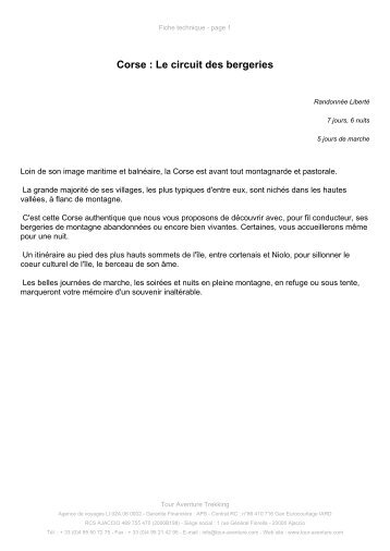 Corse : Le circuit des bergeries - Tour aventure