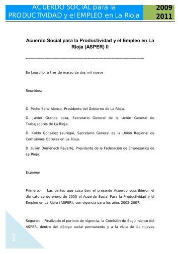 Acuerdo Social para el desarrollo de la Productividad y del Empleo ...