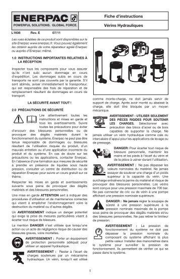 Vérins Hydrauliques Fiche d'instructions
