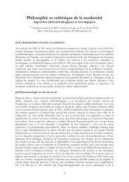 Philosophie et esthétique de la modernité - Phénoménologies de l ...
