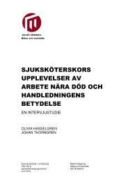 sjuksköterskors upplevelser av arbete nära död ... - Malmö högskola