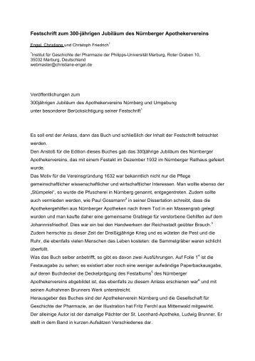 Festschrift zum 300-jährigen Jubiläum des Nürnberger ...