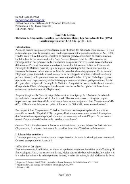 THEODORE DE MOPSUESTE, Homélies ... - ISEO 2006-2007