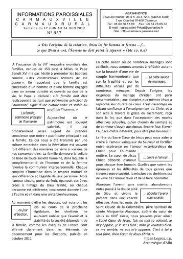 INFORMATIONS PAROISSIALES - Diocèse d'Albi