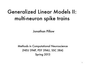 multi-neuron spike trains - Neural Coding and Computation Lab