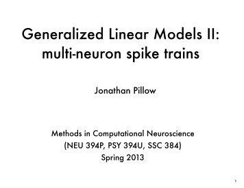 multi-neuron spike trains - Neural Coding and Computation Lab