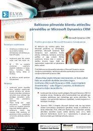 Balticovo pilnveido klientu attiecību pārvaldību ar Microsoft ...