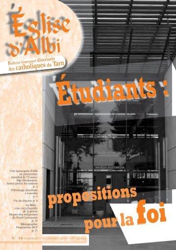 Étudiants : propositions pour la foi - Diocèse d'Albi