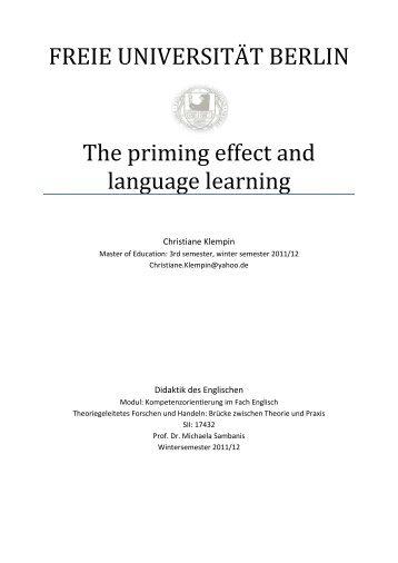 3. Priming in action - Fachbereich Philosophie und ...