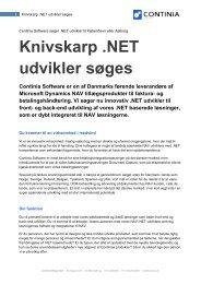 Knivskarp .NET udvikler søges Continia Software er en af Danmarks ...