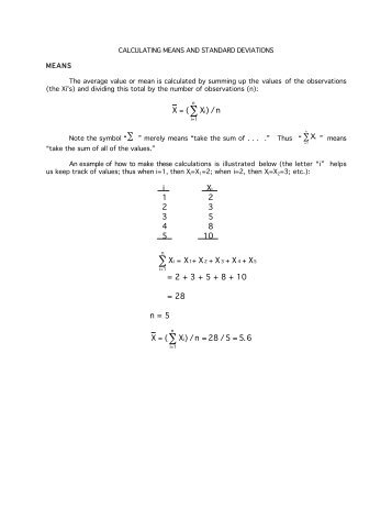Calculating Means and Standard Deviations
