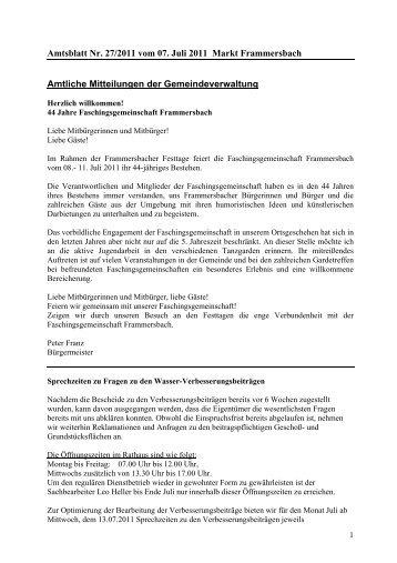 Amtsblatt Nr. 27/2011 vom 07. Juli 2011 Markt Frammersbach ...