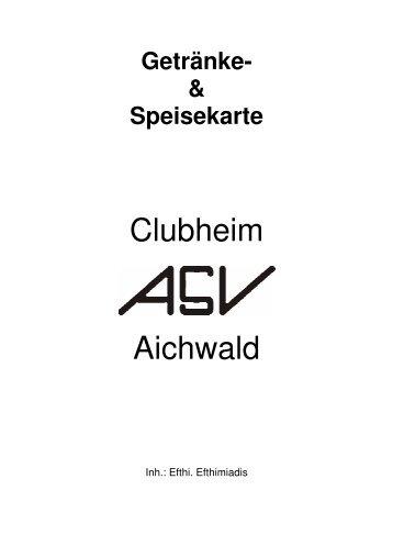 Speisekarte Clubheim