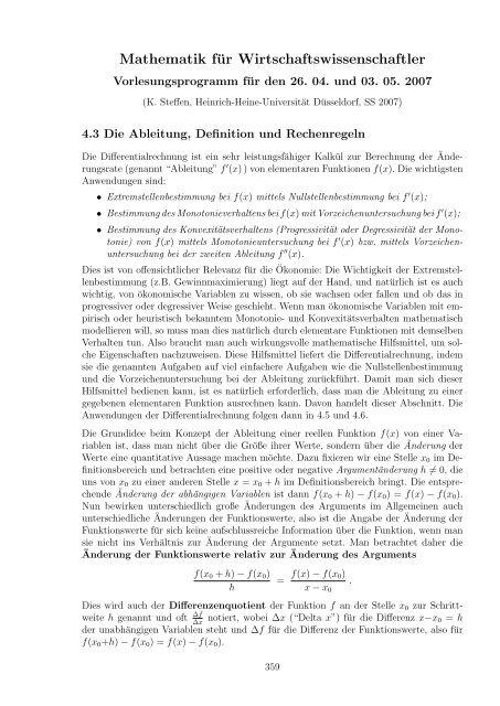 Die Ableitung und Elastizität von Funktionen. - Heinrich-Heine ...