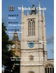 Programme - Whitehall Choir