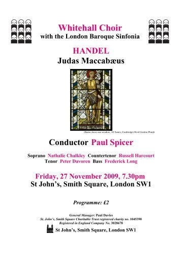 Handel - Judas Maccabaeus programme 2009 - Whitehall Choir