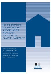 recommendations for selection of suitable hygiene procedures for ...