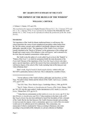 the imprint of the bezels of the wisdom - Muhyiddin Ibn Arabi Society