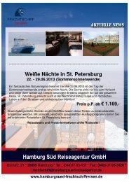 ZZ Flyer St.Petersburg Sommer - Frachtschiffreisen
