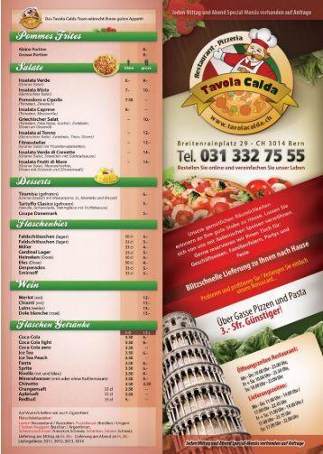 Restaurant Pizzeria Tavola Calda | Lieferkarte